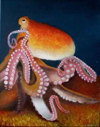 Tintenfisch, Gemälde, Tiere, Krake