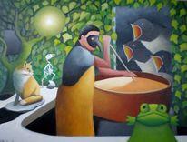 Fuchs, Figur, Nacht, Frosch