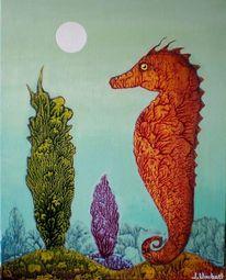 Unterwasser, Tiere, Surreal, Gemälde