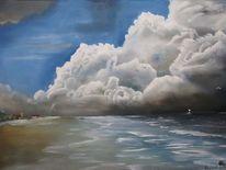 Landschaft, Ölmalerei, Malerei, Gewitter