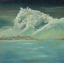 Landschaft, Ölmalerei, Himmel, Licht