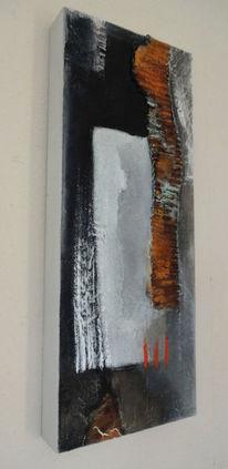 Malerei, Abstrakt, Rot schwarz, Weiß