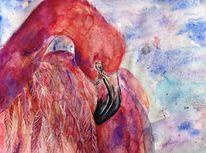 Flamingo, Tusche, Aquarellmalerei, Orange