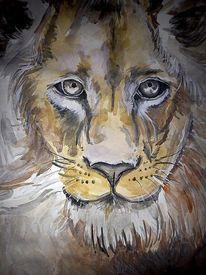 Kreide, Löwe, Tinte, Aquarellmalerei
