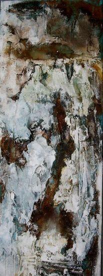 Pappe, Papiercollage, Beize, Acrylmalerei