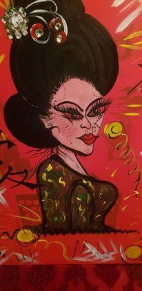 Weiblichkeit, Reiz, Rot, Acrylfarben
