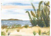 Ufer, Wasser, Landschaft, Aquarellmalerei