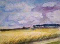 Meer, Ölmalerei, Kornfeld, Himmel