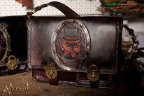 Leder, Tasche, Viktorianisch, Fantasie