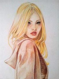 Frau, Portrait, Blond, Zeichnung