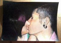 Mann, Frau, Kuss, Zeichnungen