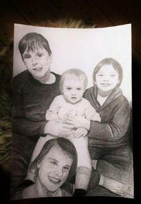 Bleistiftzeichnung, Junge, Kinder, Mädchen