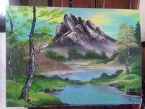 Birken, Berge, Landschaft, Bob ross