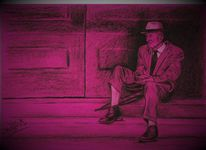 Alt, Anzug, Pink, Treppe