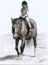 Pferde, Mädchen, Bleistiftzeichnung, Reiten
