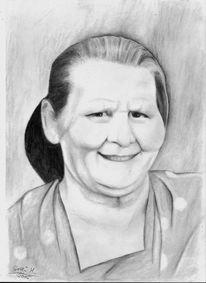 Oma, Lächeln, Großmutter, Bleistiftzeichnung