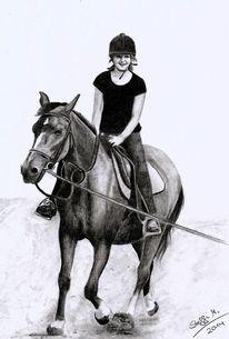 Bleistiftzeichnung, Pferde, Mädchen, Reiten