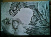 Bleistiftzeichnung, Maus, Monster, Mann