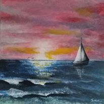 Boot, Sonnenuntergang, Meer, Sonne