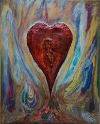 Acrylmalerei, Modelliermasse, Mischtechnik, Herz
