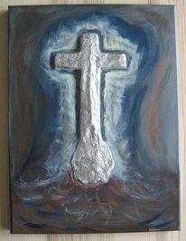 Malerei, Acrylmalerei, Mischtechnik, Kreuz