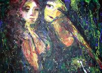 Zeichnung, Grün, Abstrakt, Freundin