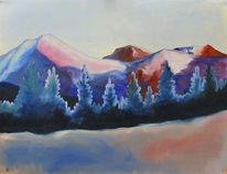 Ölmalerei, Landschaft, Berge, Modern