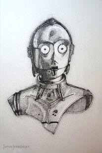 Starwars, C3po, Dotwork, Zeichnungen