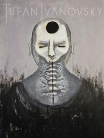 Acrylmalerei, Gesicht, Menschen, Skuril