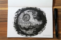Deathstar, Starwars, Technik, Tusche