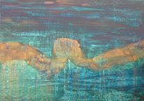 Surreal, Blau, Schwarz, Acrylmalerei