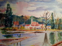 Landschaft, Aquarellmalerei, Aquarell, Kloster
