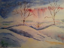 Fantasie, Schnee, Aquarellmalerei, Winter