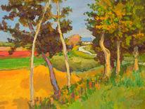 Frühling, Impressionismus, Dach, Baum