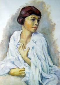 Leinen, Malerei, Figural, Ölmalerei