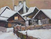 Schnee, Winter, Zaun, Häuser