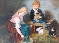 Ölmalerei, Menschen, Kaninchen, Tiere
