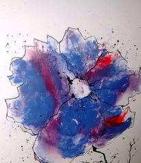 Blumen, Malerei, Lila, Abstrakt