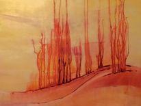 Acryl abstrakt landschaft, Malerei, Flammen