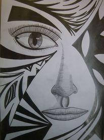Frau, Gesicht, Weiß, Abstrakt