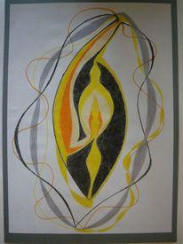 Abstrakt, Licht, Buntstiftzeichnung, Schwingung