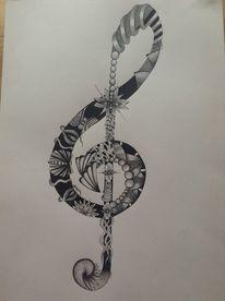 Notenschlüssel, Schwung, Muster, Zeichnung