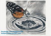 Zeichnung, Bleistiftzeichnung, Buntstiftzeichnung, Wasser