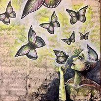 Freiheit, Schmetterling, Neon, Kopf