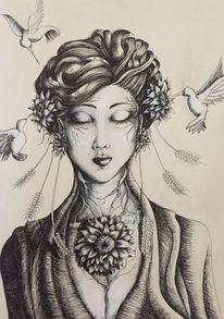 Wurzel, Frau, Vogel, Haare
