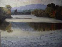 Spiegelung, Baum, Wasser, Malerei