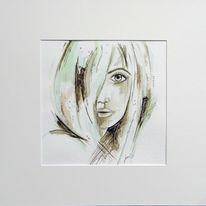 Gesicht, Handarbeit, Aquarellmalerei, Grün