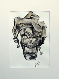 Schädel, Clown, Aquarellmalerei, Schwarz weiß