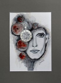 Aquarellmalerei, Geschenk, Uhr, Zeit