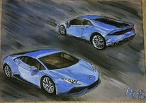 Auto, Acrylmalerei, Blau, Lamborghini